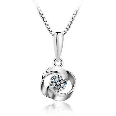 六隆珠宝S925银项链女银饰品 简约四叶草水波项链吊坠 送女友礼物