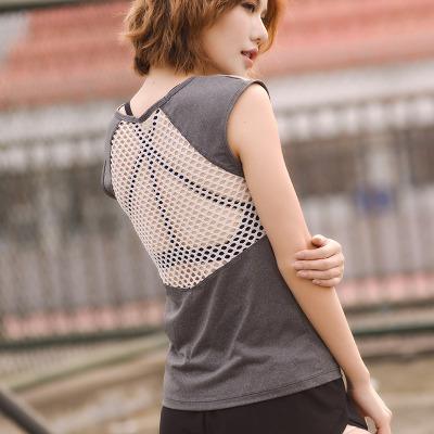 夏健身运动罩衫背心 透气速干T恤跑步瑜伽镂空短袖修身无袖上衣女