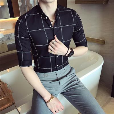 衬衫男短袖修身七分袖韩版潮流帅气百搭男士格子中袖衬衣休闲寸衫