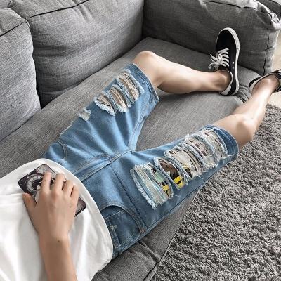 牛仔短裤男夏季薄款直筒修身马裤男休闲潮流中裤子青年韩版五分裤
