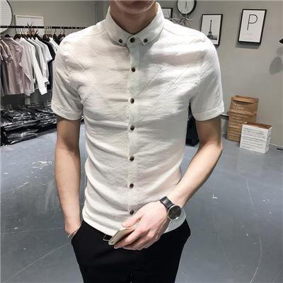 衬衫男短袖修身夏季新款韩版棉麻潮流青年帅气百搭半袖衫男士衬衣