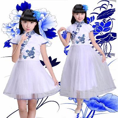 儿童青花瓷连衣裙女童夏中国风中小学生表演汉服儿童青花瓷合唱服