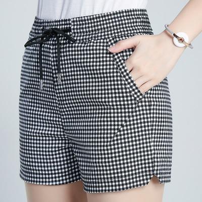 2020新款春夏格子短裤包邮修身显瘦外穿夏天短裤女大码高腰格子裤