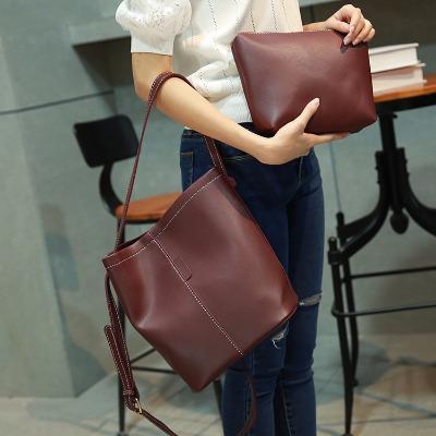 2018新款简约水桶包子母包韩版潮时尚女包单肩斜挎包手提包大包包