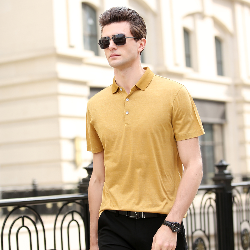 2019 Summer Ice Silk T-shirt Fashion Leisure Solid Color Men's Polo Shirt Trend [issued On February 8]