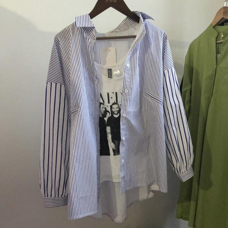 新款条纹衬衫女学生韩版宽松外套胖MM长袖大码百搭开衫衬衣女