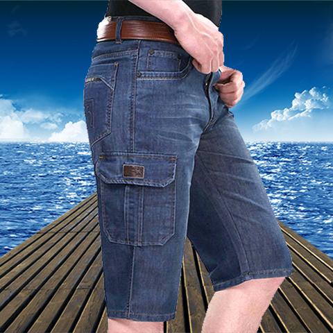 热卖新款苹果夏季薄款牛仔短裤男直筒宽松中年男士牛仔七分裤弹力