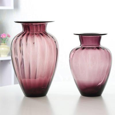 欧式波浪口创意玻璃花瓶透明彩色 客厅百合插花瓶装饰工艺品摆件