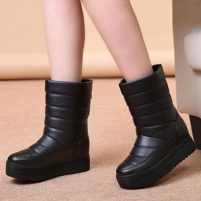 冬季加厚女靴防滑中筒雪地靴子厚底防水短靴女棉鞋保暖平底雪地靴